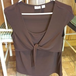 Cato Brown Tie Front Stretchy Top S